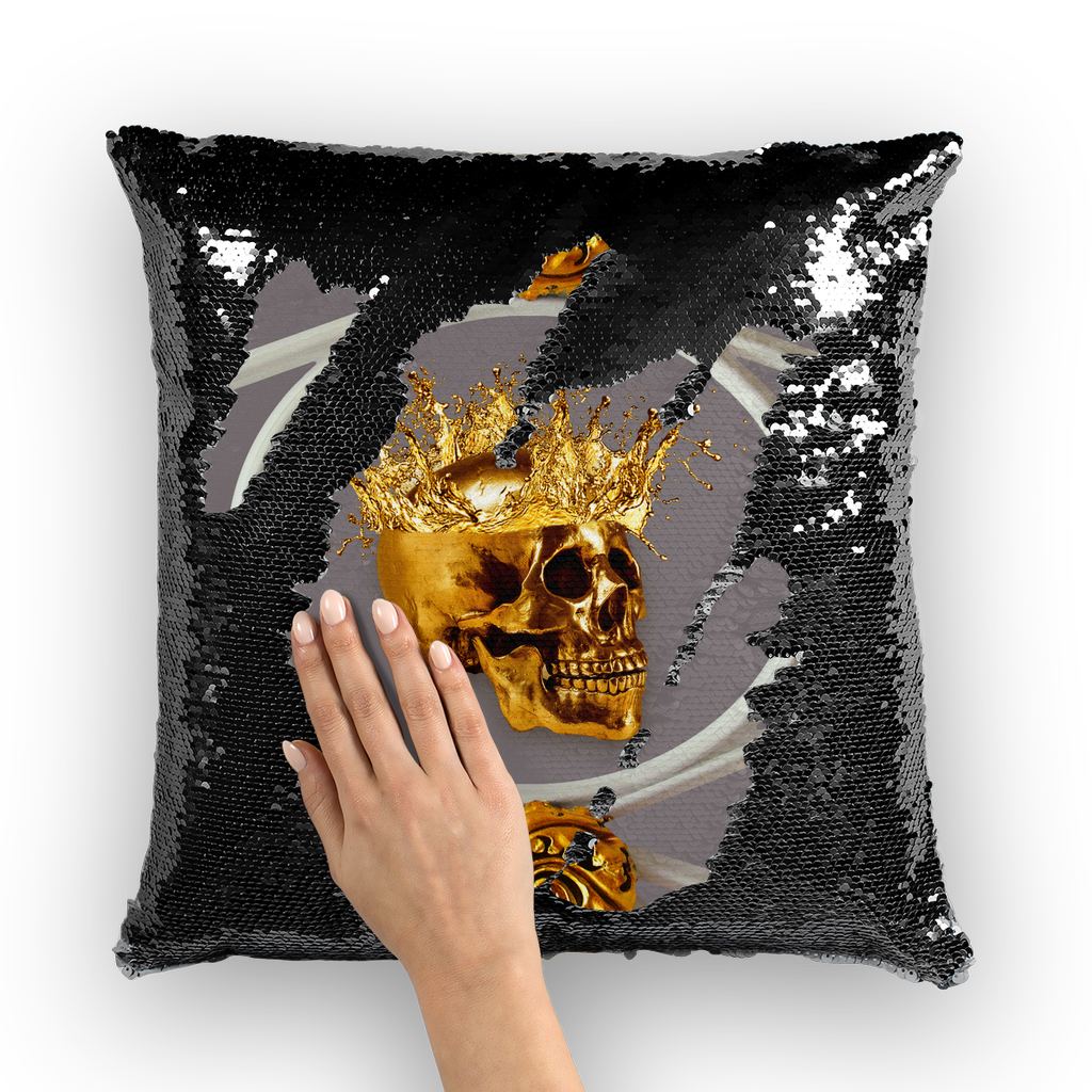 Versailles Golden Skull- French Gothic Sequin Pillowcase or Throw Pillow in Lavender Steel | Le Leanian™