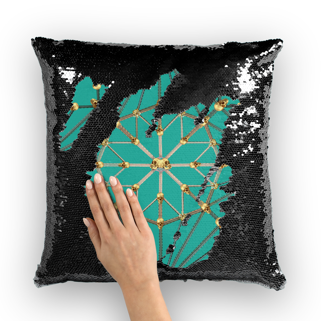 Skull Cathedral- French Gothic Sequin Pillowcase or Throw Pillow in Jade Teal | Le Leanian™