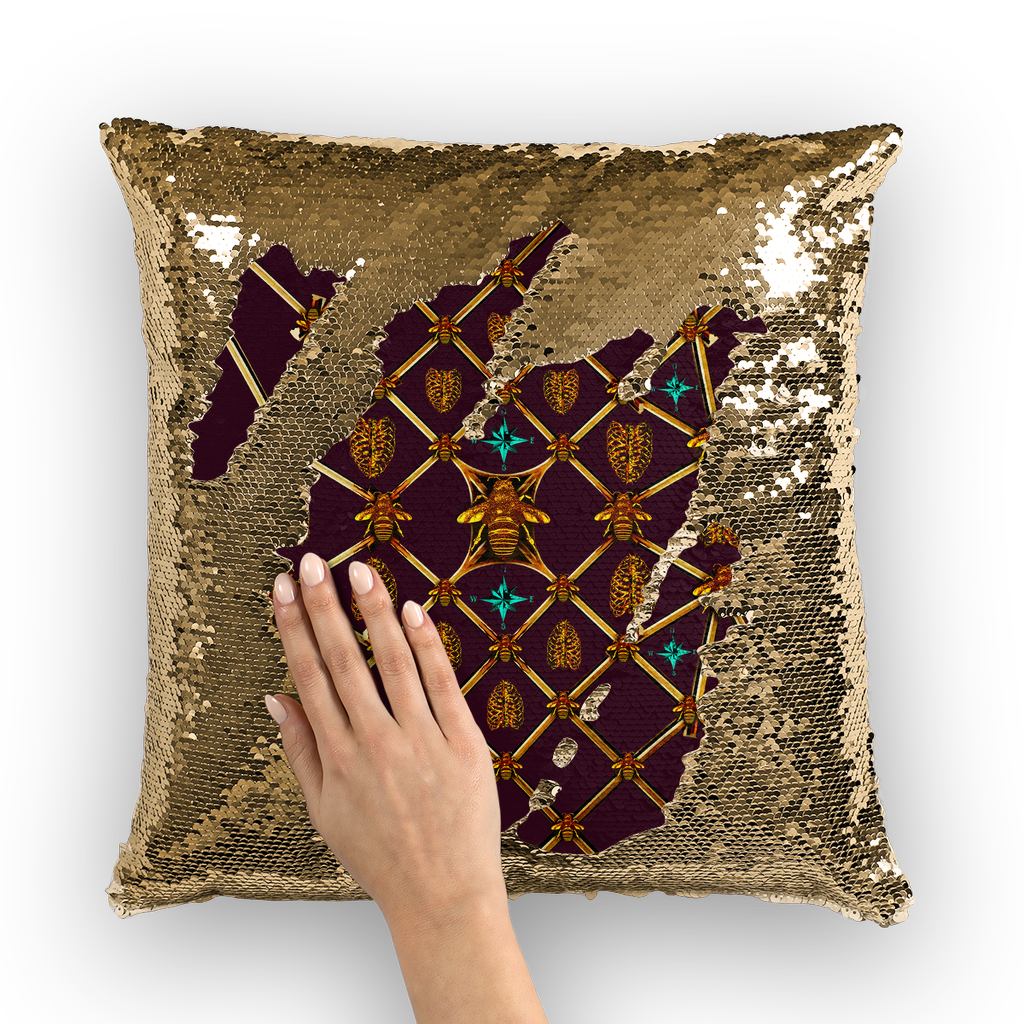Sequin Gold Pillowcase & Throw Pillow-French Gothic-Honey Bee & Rib Print- Eggplant Wine Red Purple
