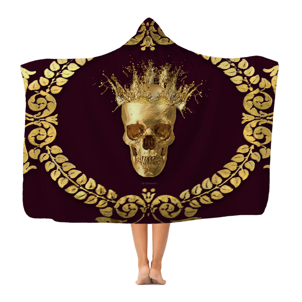 Polar Feece HOODED BLANKET-GOLD SKULL CROWN-GOLD WREATH-Color EGGPLANT WINE, WINE RED, BURGUNDY, MAROON, BLOOD PURPLE