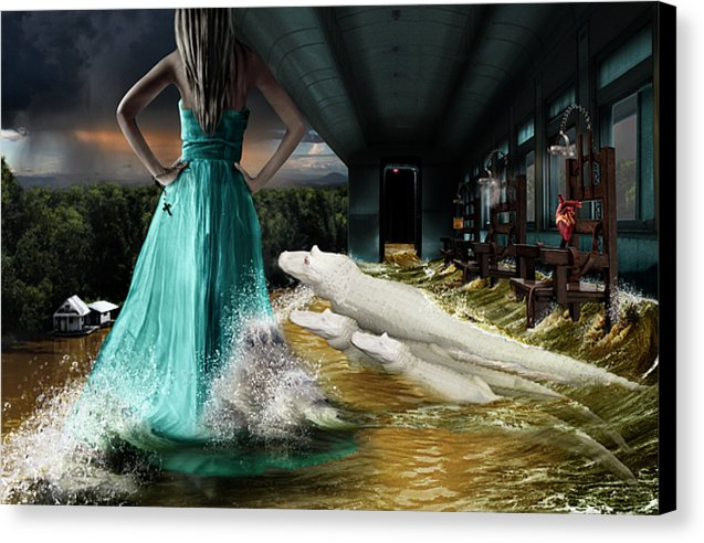 Surreal Portrait of a Woman Overlooking a Louisiana Bayou Surrounded by Albino Alligators.
