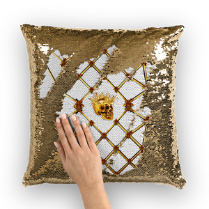 Sequin French Gothic Skull & Honey Bee-Pillowcase & Throw Pillow-White