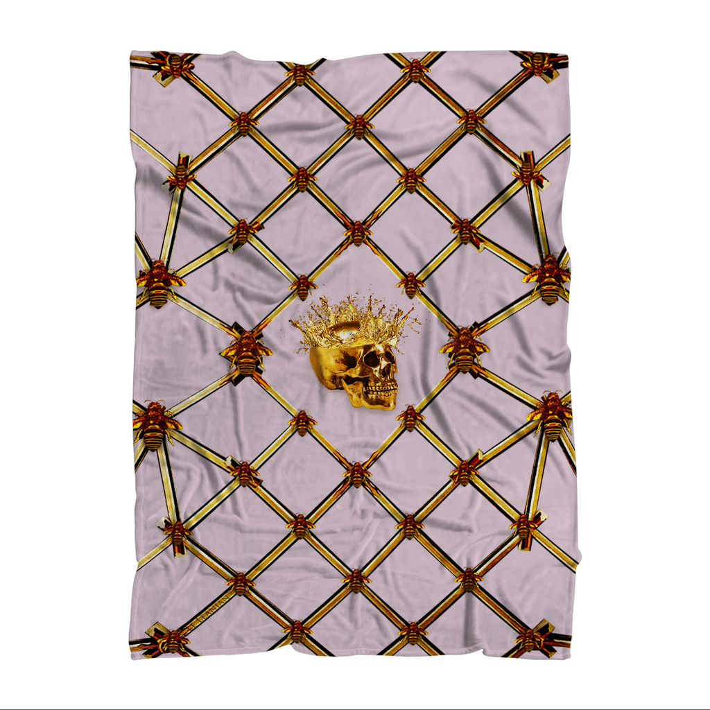 Skull Gilded Honeycomb & Jade Star- Classic French Gothic Fleece Blanket in Nouveau Blush Taupe | Le Leanian™