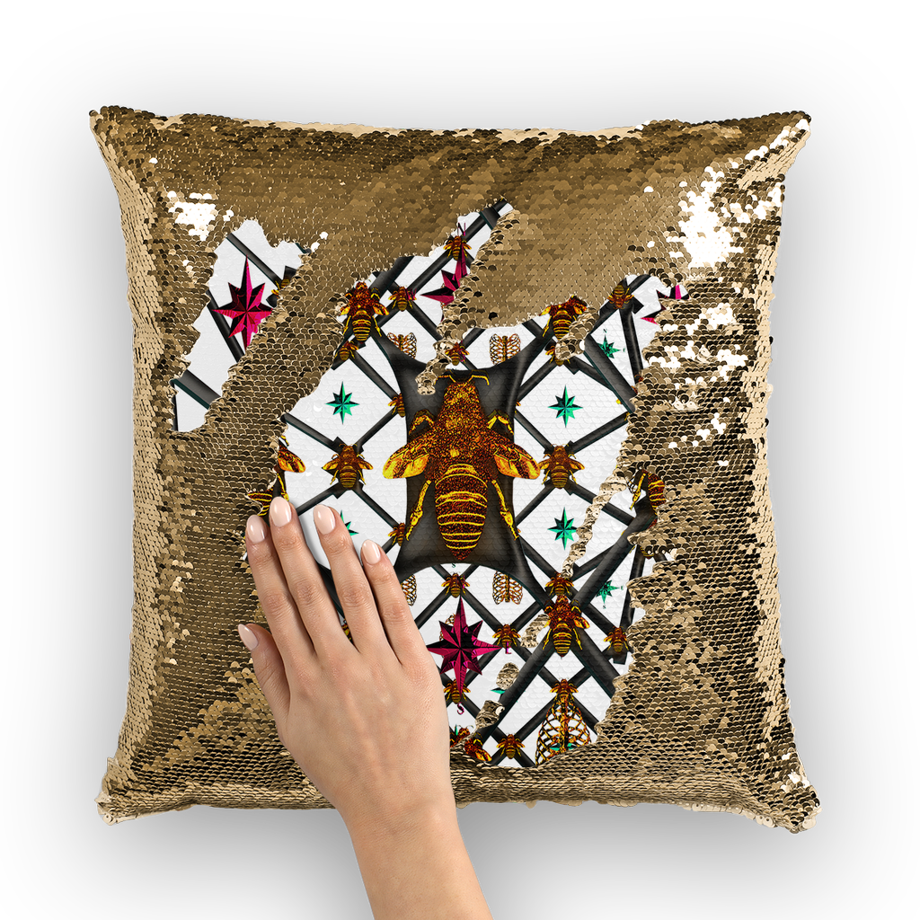 BLACK & GOLD SEQUIN PILLOW CASE-THROW PILLOW-Multi Color Honey BEE, RIBS, STARS PATTERN-Color WHITE