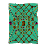 Bee Divergence Gilded Ribs & Magenta Stars- in Bold Jade Teal Sublimation Adult Blanket