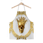 Classic Apron-Gold SKULL and Crown-Gold WREATH-Color Light GRAY