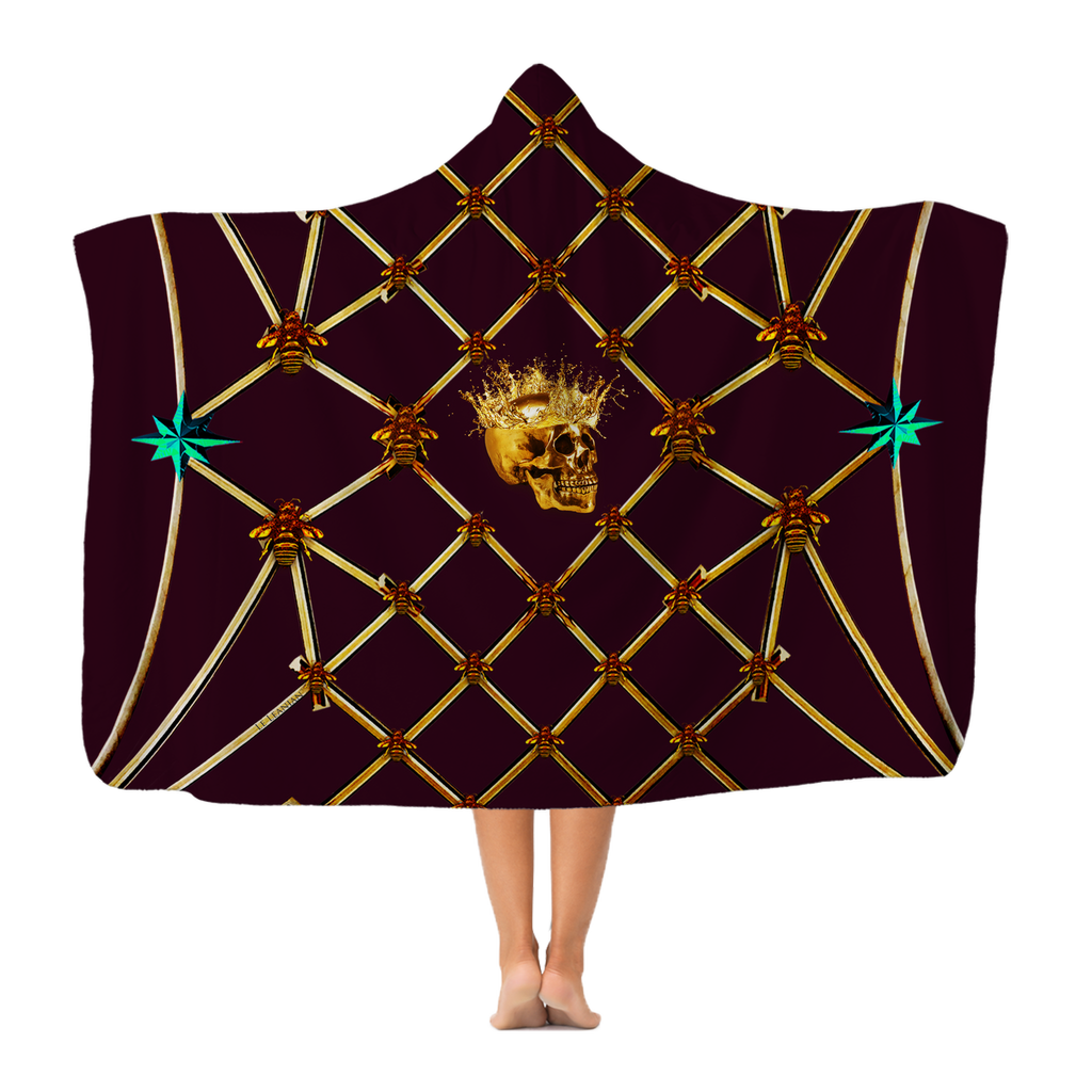 Gold Skull and Honey Bee- Jade Green Stars- Polar Fleece- Classic Hooded Blanket in Wine Red, Eggplant, Purple, Eggplant Wine