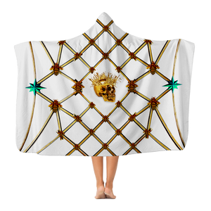 Skull Gilded Honeycomb & Teal Star- Adult & Youth Hooded Fleece Blanket in White | Le Leanian™