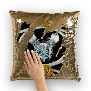 Versailles Gilded Skull Divergence Teal Whispers- French Gothic Sequin Pillowcase or Throw Pillow in Back to Black | Le Leanian™