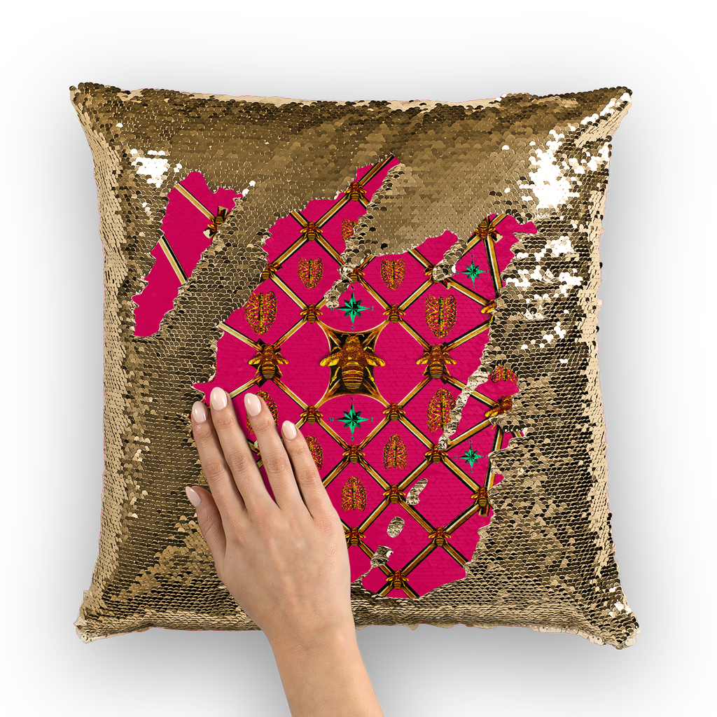Sequin Gold & BLACK PILLOW CASE-Throw PILLOW-BEES, RIBS & STARS Pattern-Color FUCHSIA PINK