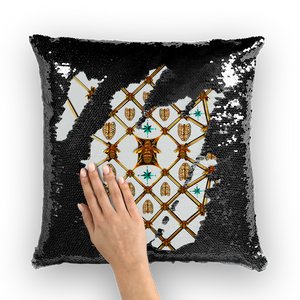 Bee Divergence Gilded Ribs & Teal Stars- French Gothic Sequin Pillowcase or Throw Pillow in Lightest Gray | Le Leanian™