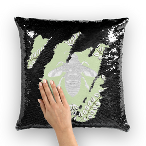Queen Bee- French Gothic Sequin Pillowcase or Throw Pillow in Pale Green | Le Leanian™