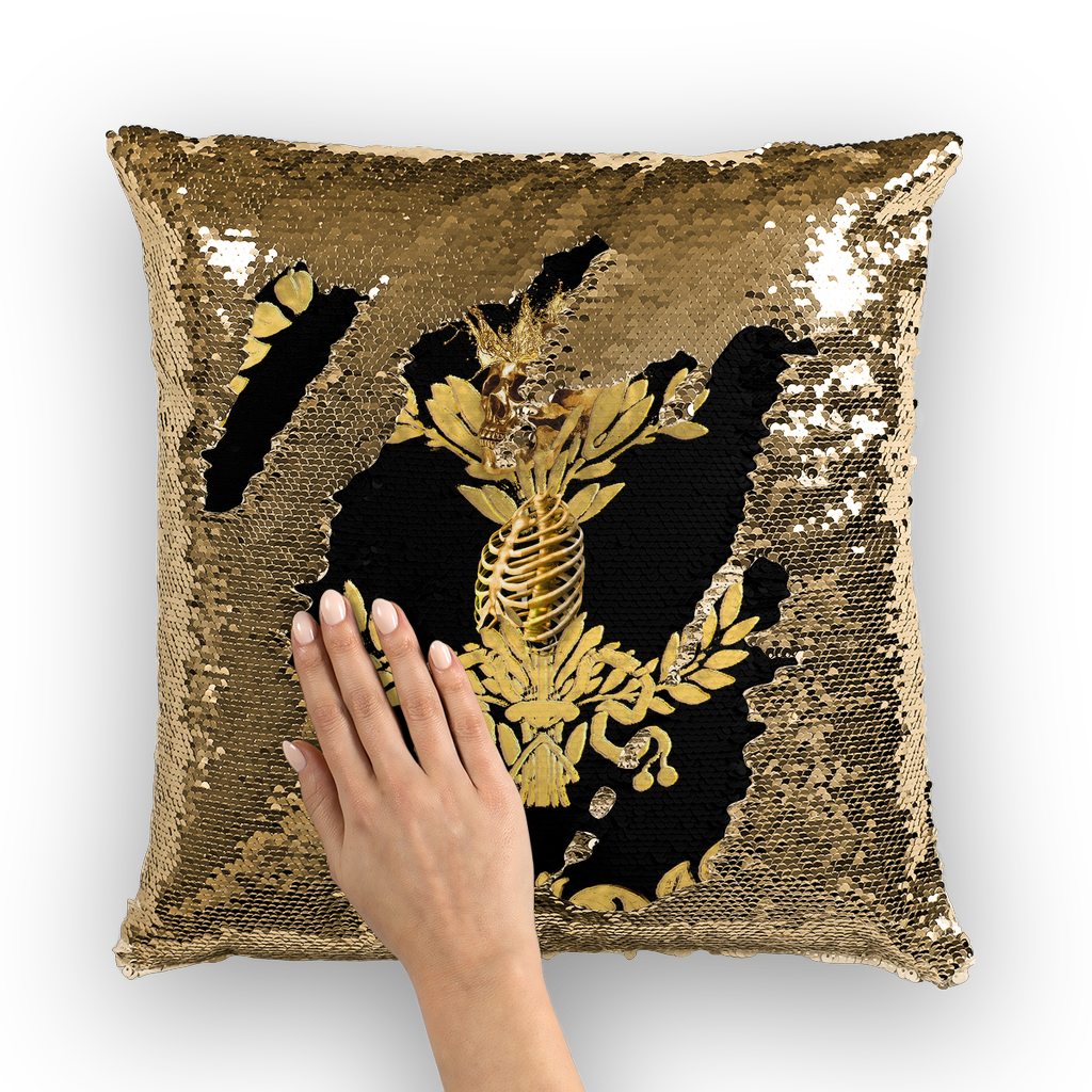 Gold Sequin Pillow Case-Throw Pillow-Gold WREATH, GOLD SKULL-Color BLACK