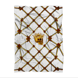 Gold Skull and Honey Bee- Polar Fleece- Classic Blanket in White