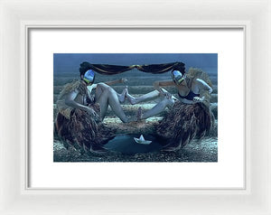 Fantastic Planet-1973- Surreal Portrait of Two Women in Agricultural Rows-Framed Print.