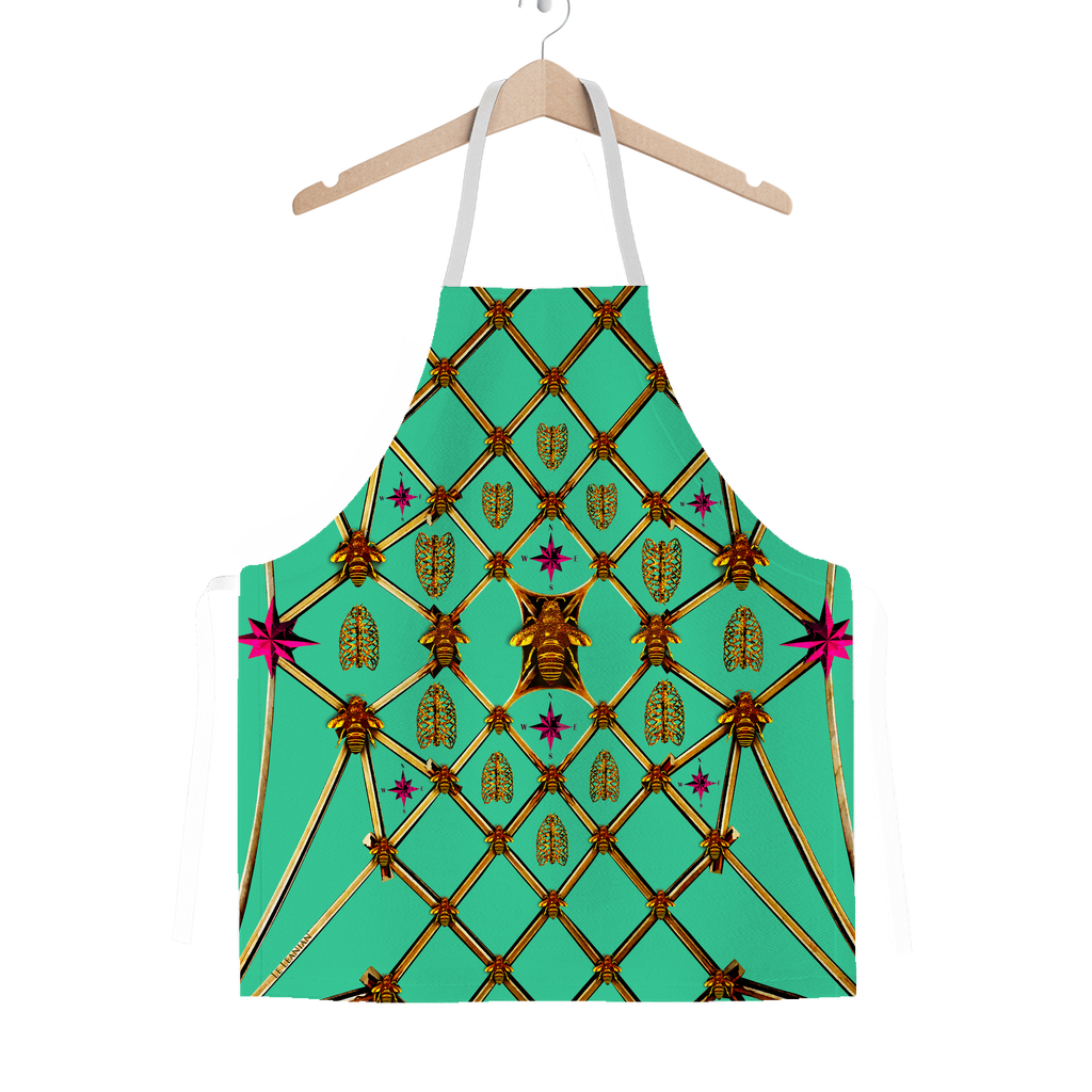 Honey Bee Gilded Hive-Honeycomb Pattern- Classic Apron Color Bold Jade Teal, Blue, BRIGHT BLUE, AQUA