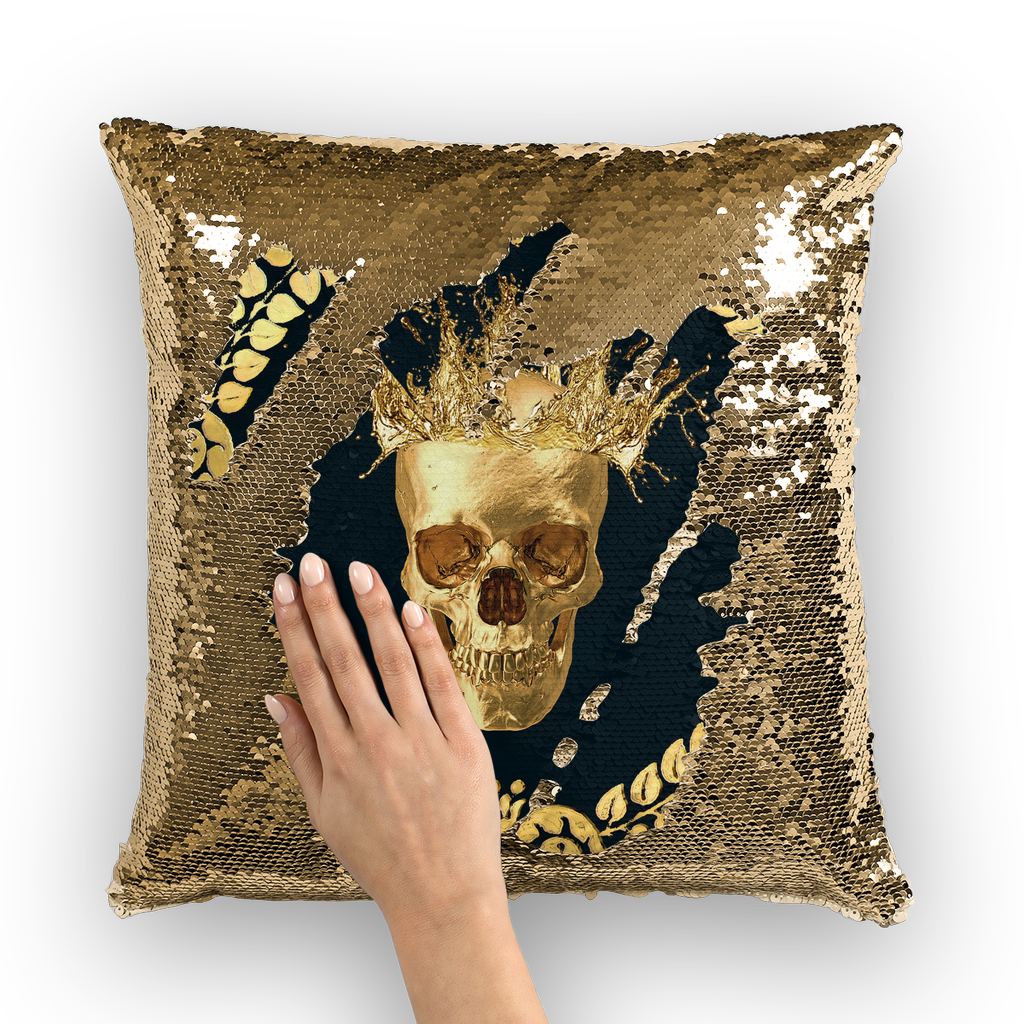 Gold Sequin Pillow Case-Throw Pillow-Gold Skull-Gold Wreath Pattern in Color BLACK