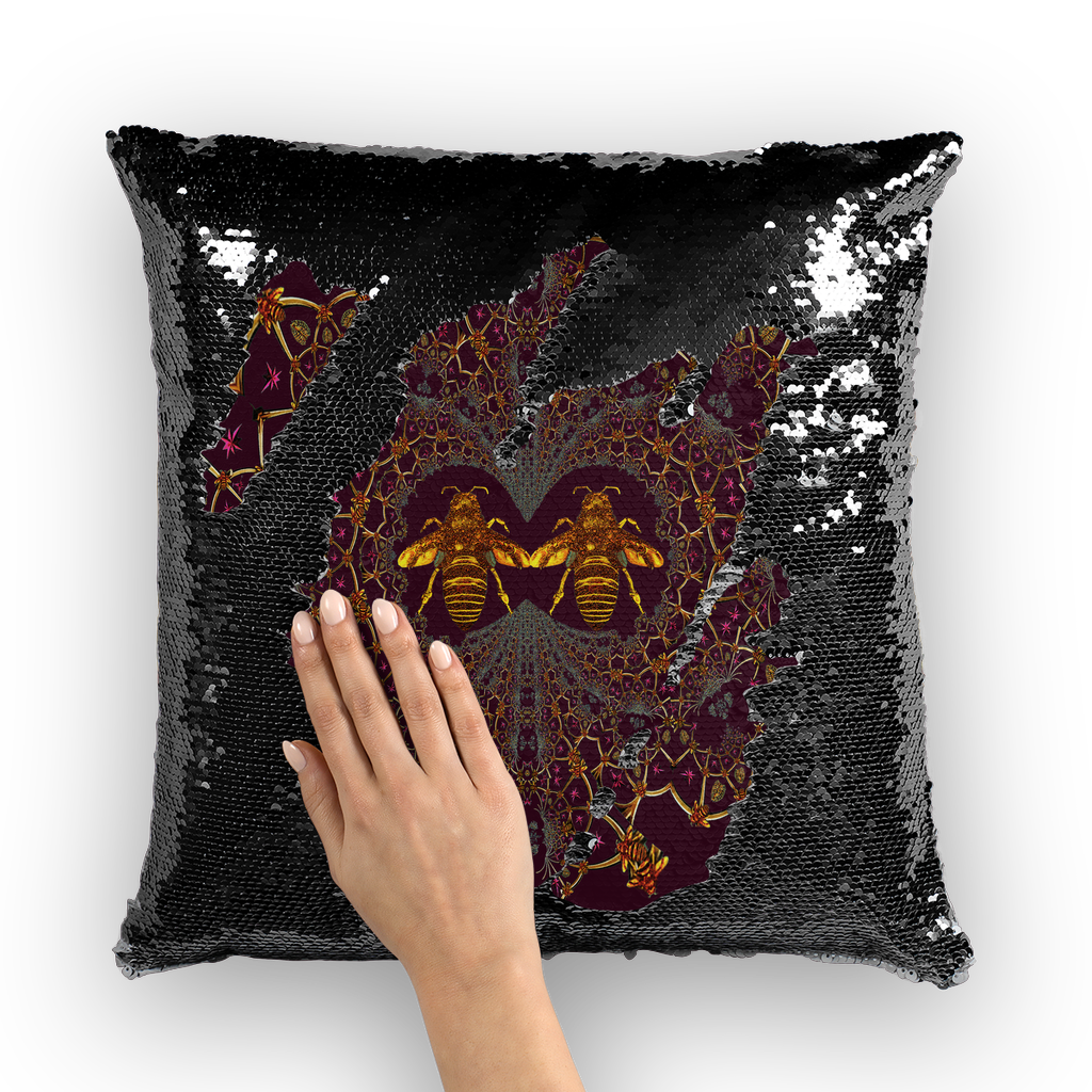 Baroque Honey Bee Extinction- French Gothic Sequin Pillowcase or Throw Pillow in Eggplant Wine | Le Leanian™