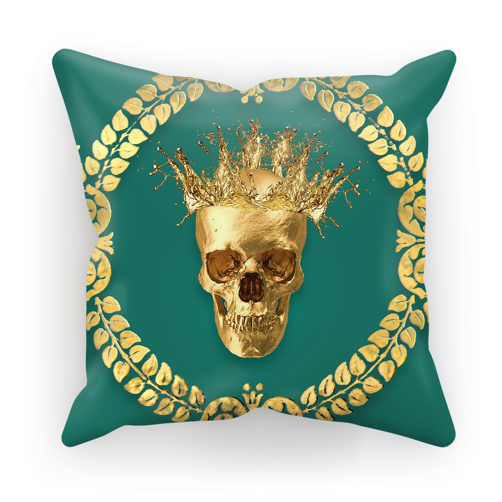 Caesar Gilded Skull- French Gothic Satin & Suede Pillowcase in Jade | Le Leanian™