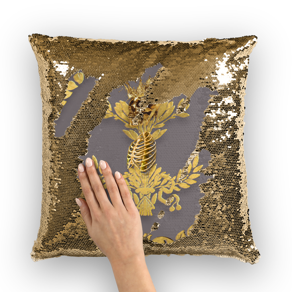 Caesar Skull Relief- French Gothic Sequin Pillowcase or Throw Pillow in Lavender Steel | Le Leanian™
