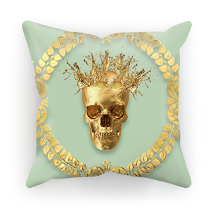 Caesar Gilded Skull- French Gothic Satin & Suede Pillowcase in Pastel | Le Leanian™