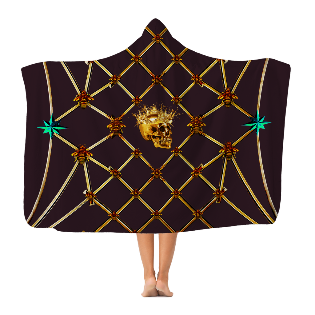 Skull Gilded Honeycomb & Jade Star- Adult & Youth Hooded Fleece Blanket in Muted Eggplant Wine | Le Leanian™