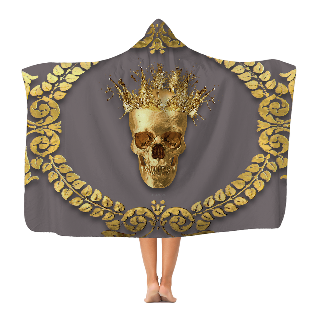 Polar Feece HOODED BLANKET-GOLD SKULL CROWN-GOLD WREATH-Color LAVENDER STEEL, NEUTRAL PURPLE