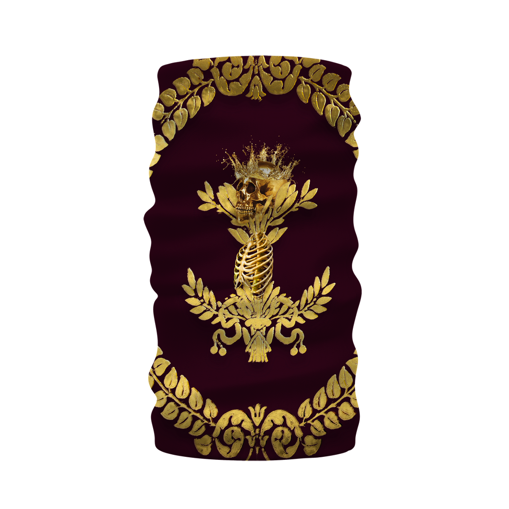 Morf Scarf-Neck Warmer-GOLD WREATH-GOLD SKULL- in Color EGGPLANT WINE, WINE RED, PURPLE