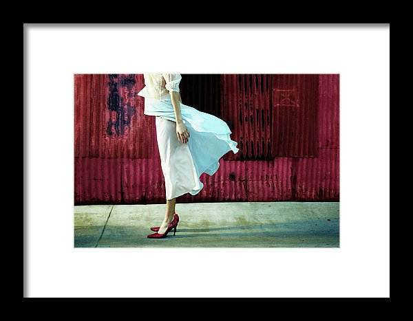 Profile of  a Headless Woman in Crimson Red Shoes, against a Crimson Red Metal Wall-Canvas Fine Art Print.