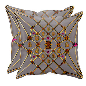 Bee Divergence Gilded Bees & Ribs Magenta Stars- Sets & Singles Pillowcase in Lavender Steel | Le Leanian™