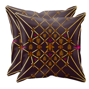 Bee Divergence Gilded Bees & Ribs Magenta Stars- Sets & Singles Pillowcase in Muted Eggplant Wine | Le Leanian™