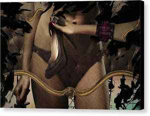 Surreal Fashion-Disjointed woman cropped at torso holding a Christian Dior High Heel Shoe, surrounded by black feathers-Canvas Print
