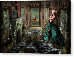 Woman in a room being flooded with water from mirrors on all sides with an atom bomb going off outside-Canvas Print