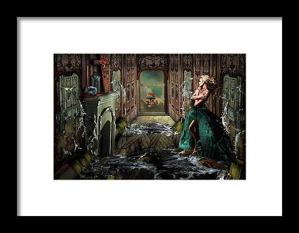 Woman in a room being flooded with water from mirrors on all sides with an atom bomb going off outside-Framed Print