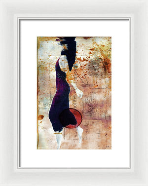 Woman Just under the Surface of The Water, taking her last breath, with colorful antique texture overlay- Framed Print