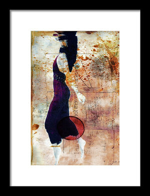 Woman Just under the Surface of The Water, taking her last breath, with colorful antique texture overlay-Framed Print