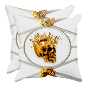 Gold Skull French Goth Chic- Pillow Case Set- Interior Design Singles- in Color-Lightest Gray