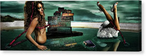 Louii Vuitton vs Salvador Dali- Disjointed Woman Floating in Water with Red Crutches and Surreal Clouds-Fine Art Canvas Print