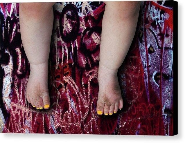 Female Baby Legs and Yellow Painted Toenails on Graffiti Background- Fine Art Canvas Print