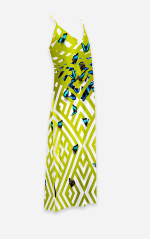Morpho- French Gothic V Neck Slip Dress in Chartreuse Yellow | Le Leanian™