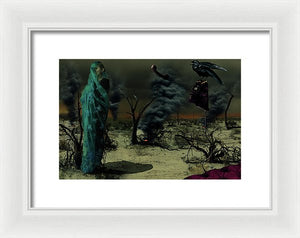 Mother Wrapped in Byzantine Blue Lace Fabric in an Apocalyptic setting with Spot Fires in the Background and a Crow Perched on an Analog, off the hook, Phone- Framed Fine Art Print