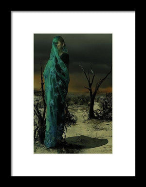 Mother wrapped in Byzantine Blue Lace in a Barren Apocalyptic Landscape-Framed Fine Art Print