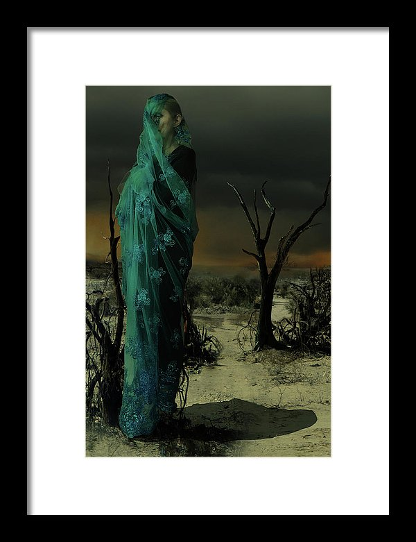 Mother wrapped in Byzantine Blue Lace in a Barren Apocalyptic Landscape- Framed Fine Art Print