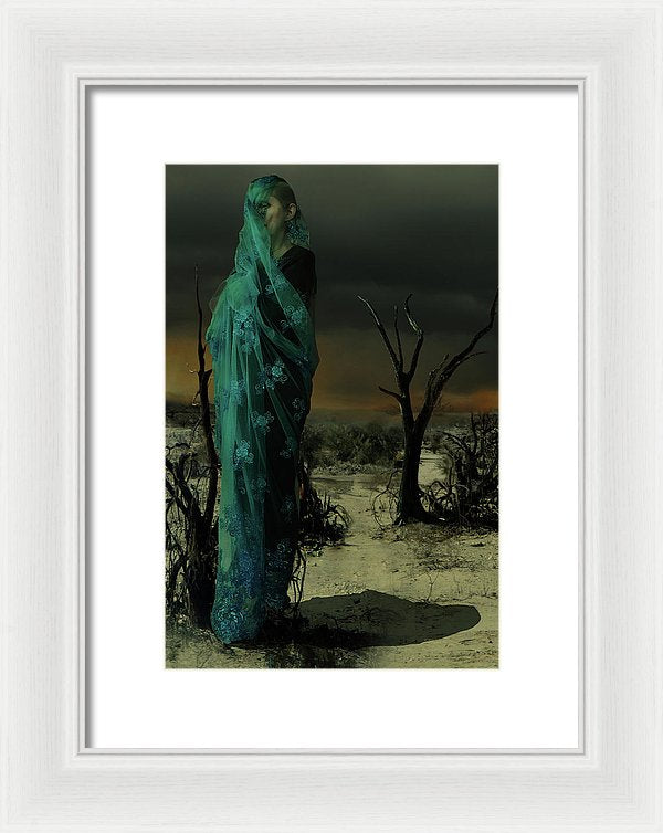 Mother Wrapped in Byzantine Blue Lace Fabric in an Apocalyptic setting with Spot Fires in the Background and a Crow Perched on an Analog, off the hook, Phone-Framed Fine Art Print