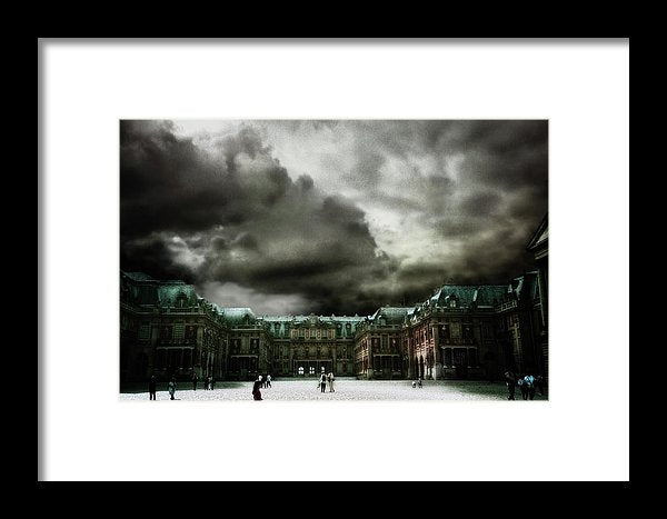 Palace Versailles Surreal Landscape with Sparse Visitors and Billowing Muted Storm Clouds- Framed Fine Art Print