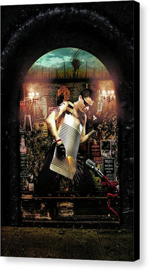 Byzantine Art Billboards, Where Artists Go to Sacrifice- Wash Board Player-Fine Art Canvas Print