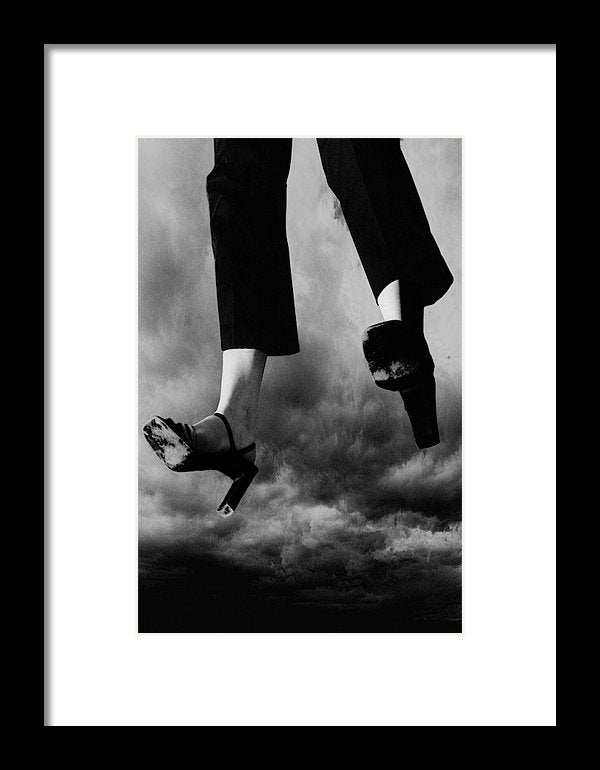 Black & White Portrait of a Woman's Legs Flying Through Stormy Skies- Framed Fine Art Print