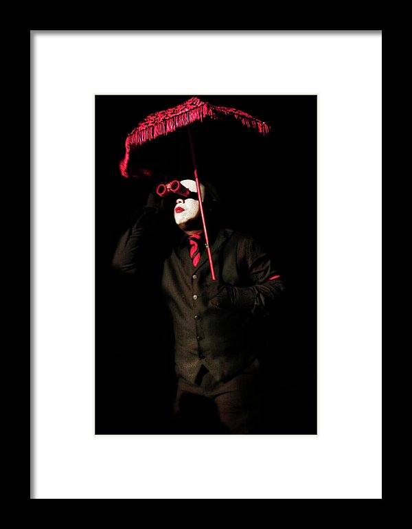 Cirque-Circus Clown in a Black Tux with Crimson Red Accessories-Red Binoculars-Framed Fine Art Print
