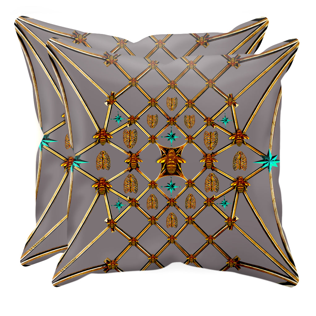 Bee Divergence Gilded Bees & Ribs Teal Stars- Sets & Singles Pillowcase in Lavender Steel | Le Leanian™