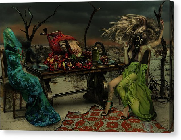 Two Women in Purgatory at The Last Supper-Fine Art Canvas Print